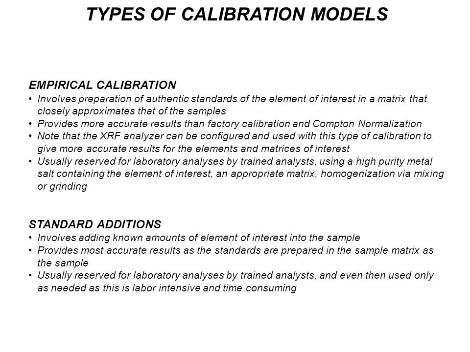 TYPES OF CALIBRATION MODELS
