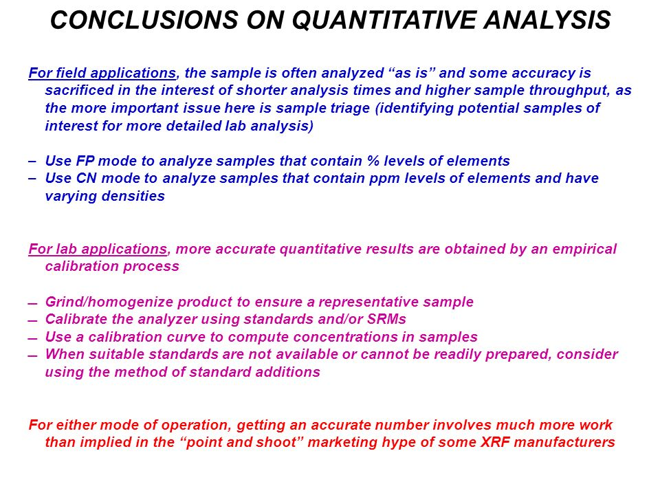 CONCLUSIONS ON QUANTITATIVE ANALYSIS