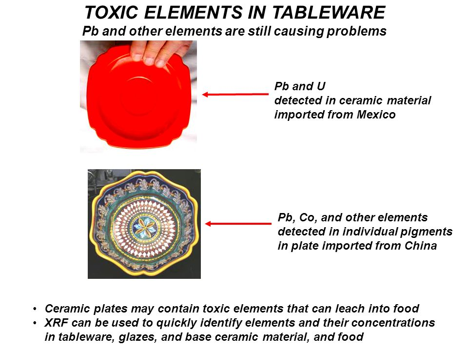 TOXIC ELEMENTS IN TABLEWARE Pb and other elements are still causing problems