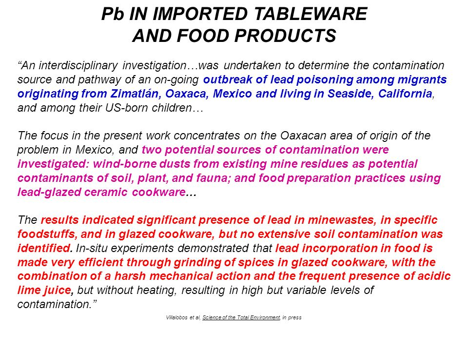 Pb IN IMPORTED TABLEWARE