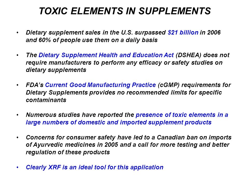 TOXIC ELEMENTS IN SUPPLEMENTS