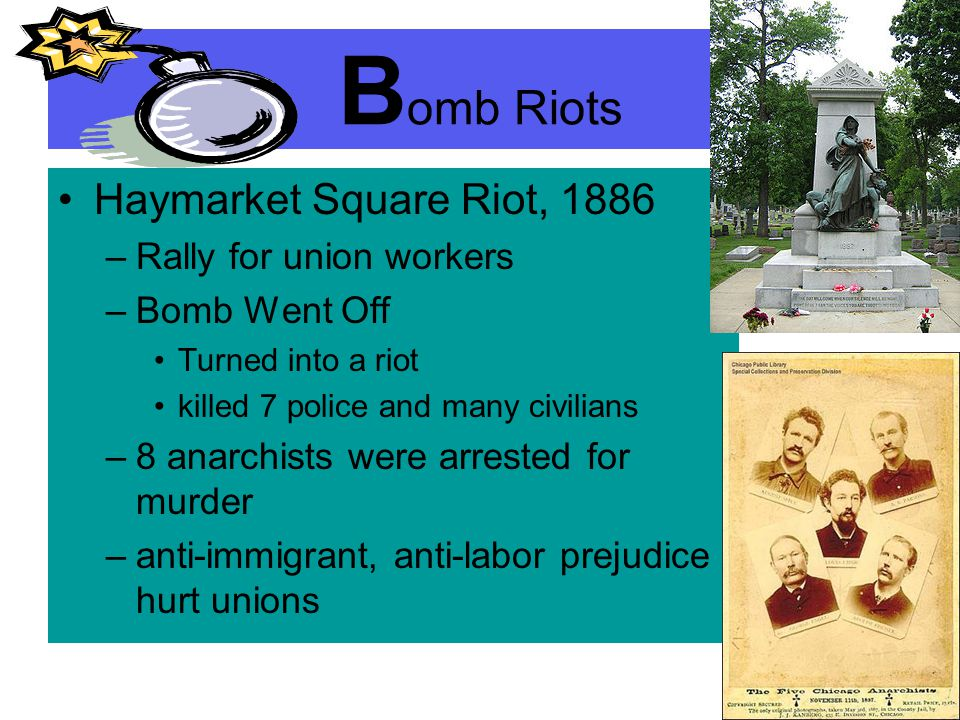 Bomb Riots Haymarket Square Riot, 1886 Rally for union workers
