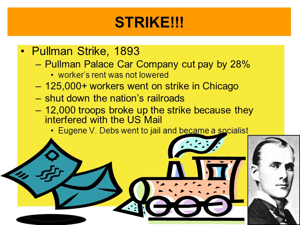 STRIKE!!! Pullman Strike, 1893. Pullman Palace Car Company cut pay by 28% worker's rent was not lowered.