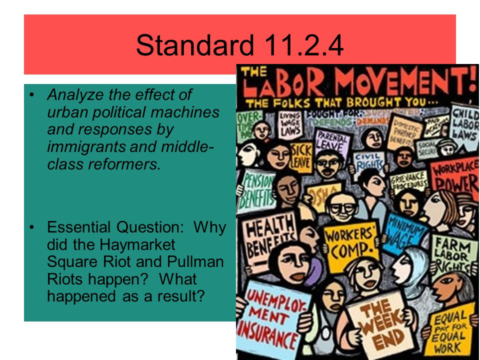 Standard 11.2.4 Analyze the effect of urban political machines and responses by immigrants and middle-class reformers.