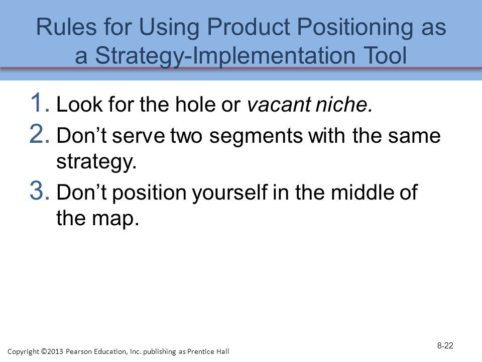 Rules for Using Product Positioning as a Strategy-Implementation Tool