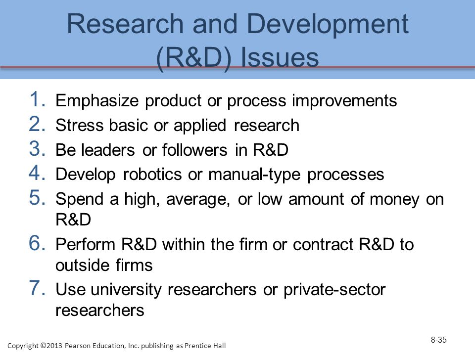 Research and Development (R&D) Issues
