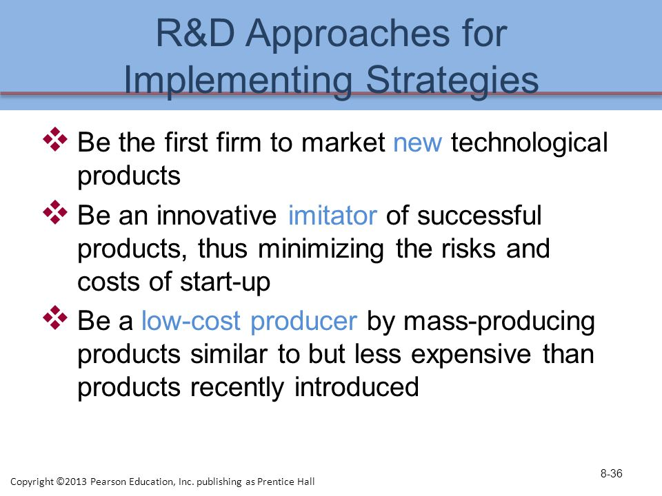 R&D Approaches for Implementing Strategies