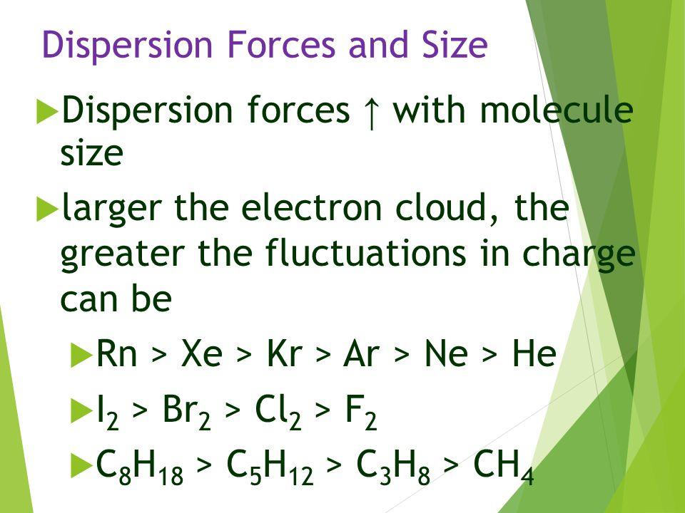 Dispersion Forces and Size