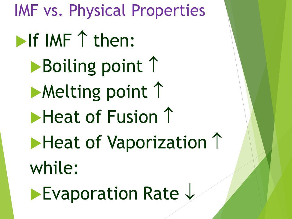 IMF vs. Physical Properties