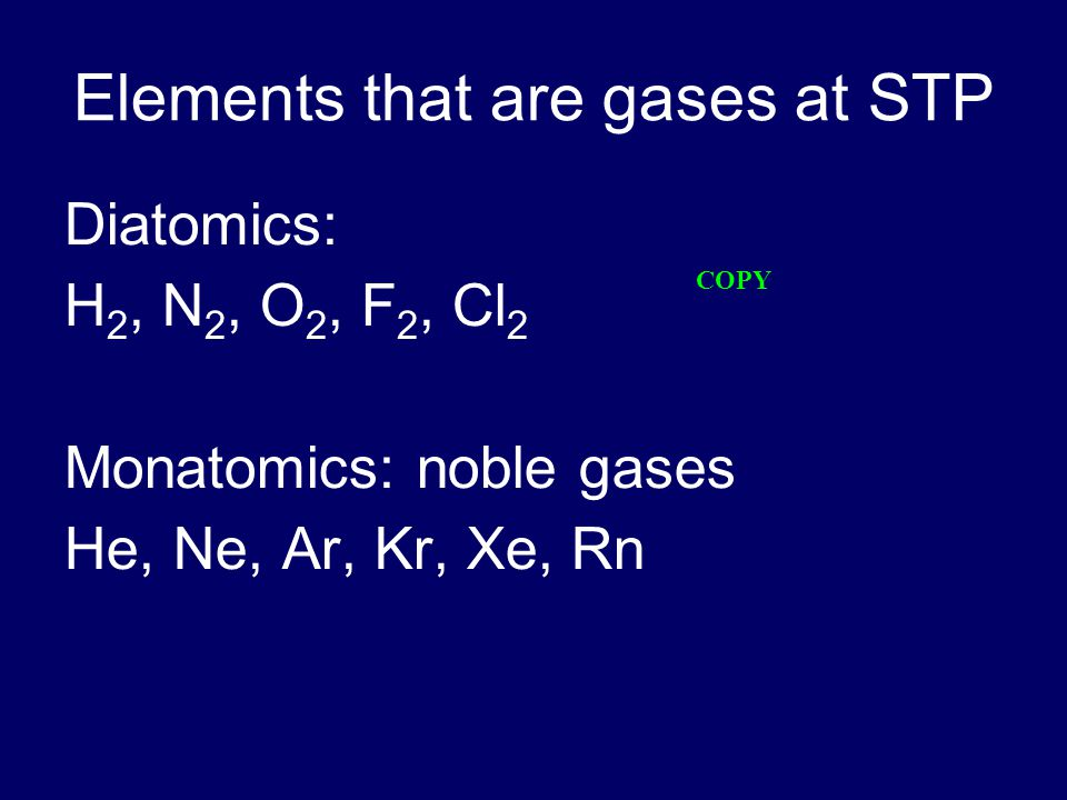 Elements that are gases at STP