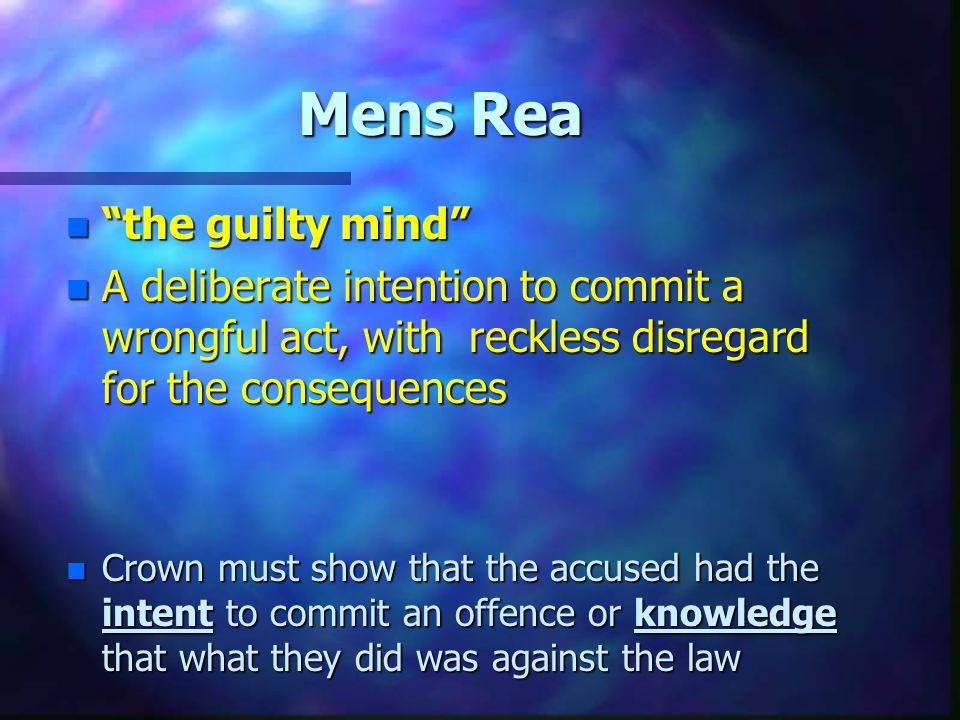 Mens Rea the guilty mind