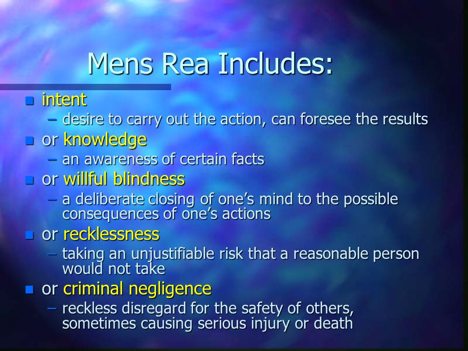 Mens Rea Includes: intent or knowledge or willful blindness