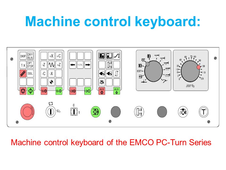 Machine control keyboard:
