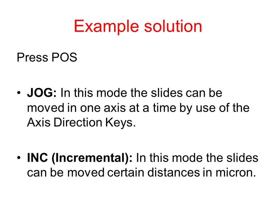 Example solution Press POS
