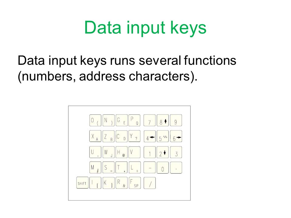 Data input keys Data input keys runs several functions (numbers, address characters).