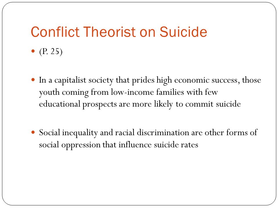 Conflict Theorist on Suicide
