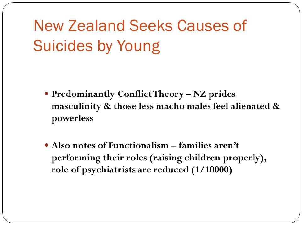 New Zealand Seeks Causes of Suicides by Young
