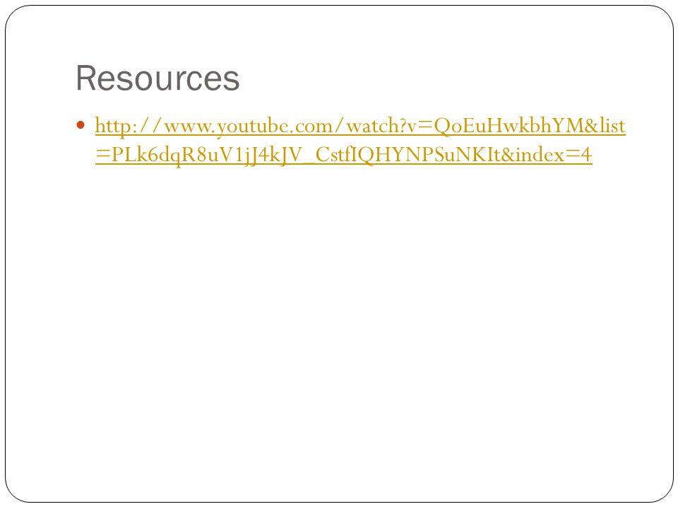 Resources http://www.youtube.com/watch v=QoEuHwkbhYM&list =PLk6dqR8uV1jJ4kJV_CstfIQHYNPSuNKIt&index=4.
