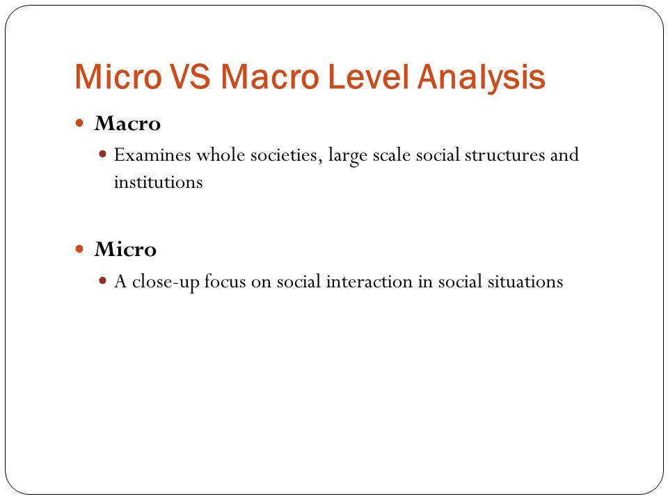 Micro VS Macro Level Analysis