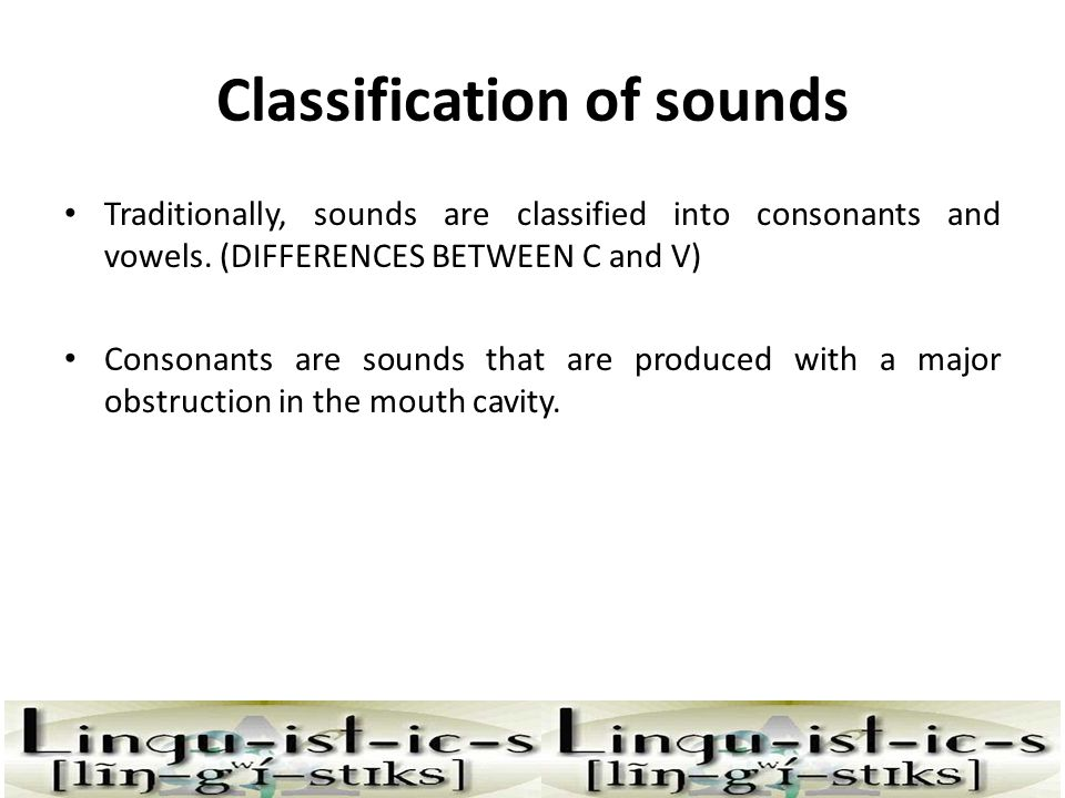 Classification of sounds