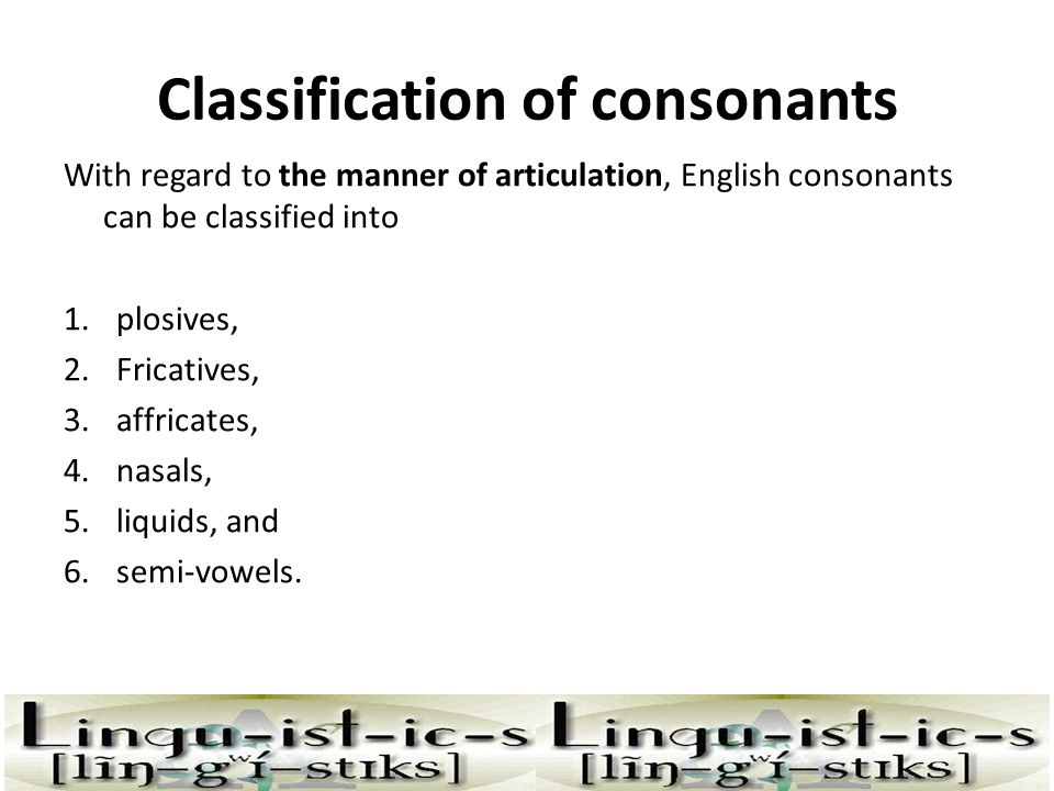 Classification of consonants