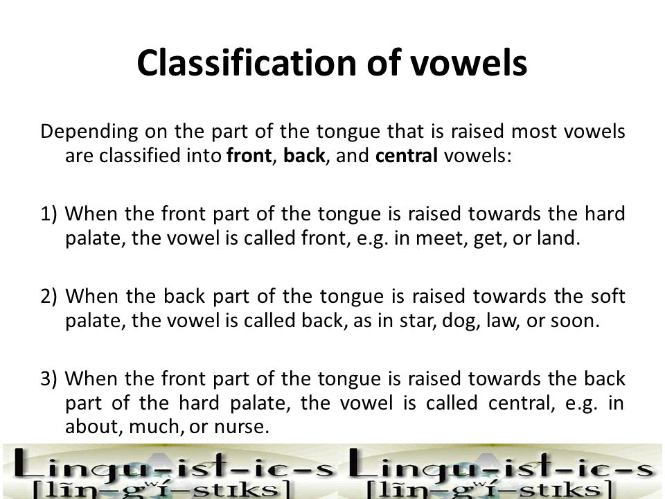 Classification of vowels