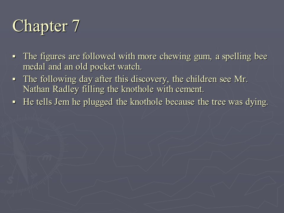 Chapter 7 The figures are followed with more chewing gum, a spelling bee medal and an old pocket watch.
