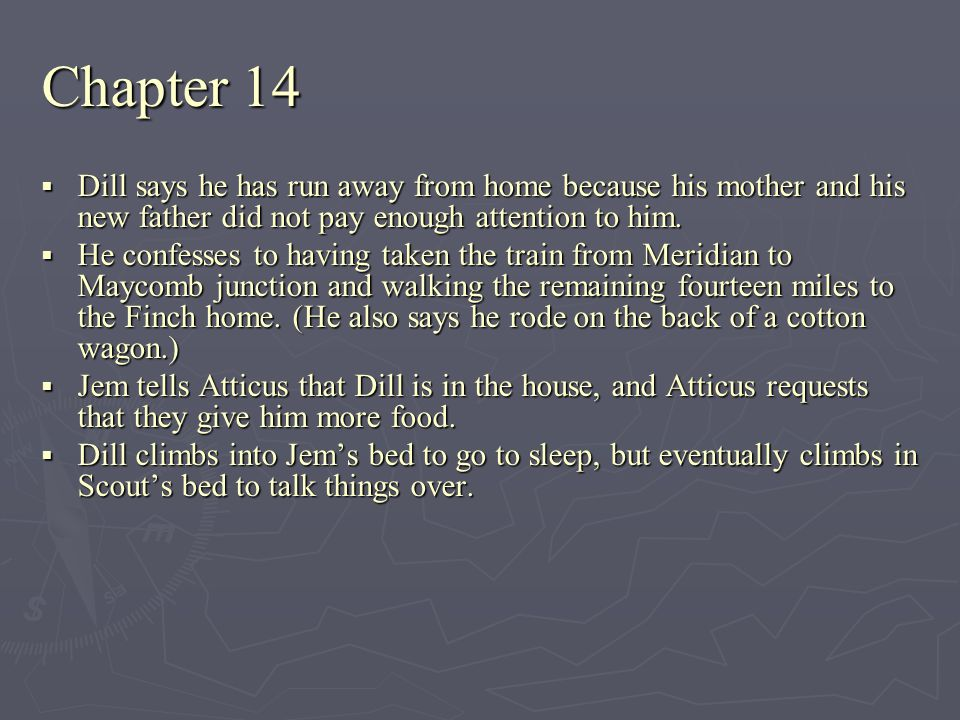 Chapter 14 Dill says he has run away from home because his mother and his new father did not pay enough attention to him.