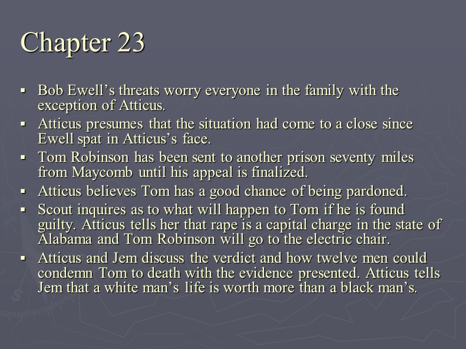 Chapter 23 Bob Ewell's threats worry everyone in the family with the exception of Atticus.