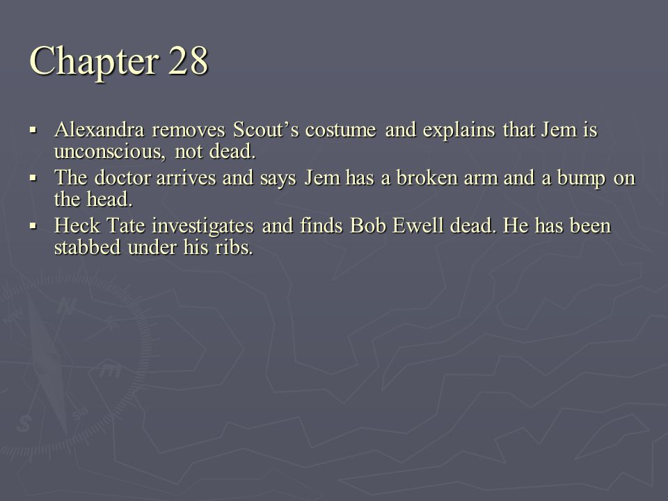 Chapter 28 Alexandra removes Scout's costume and explains that Jem is unconscious, not dead.
