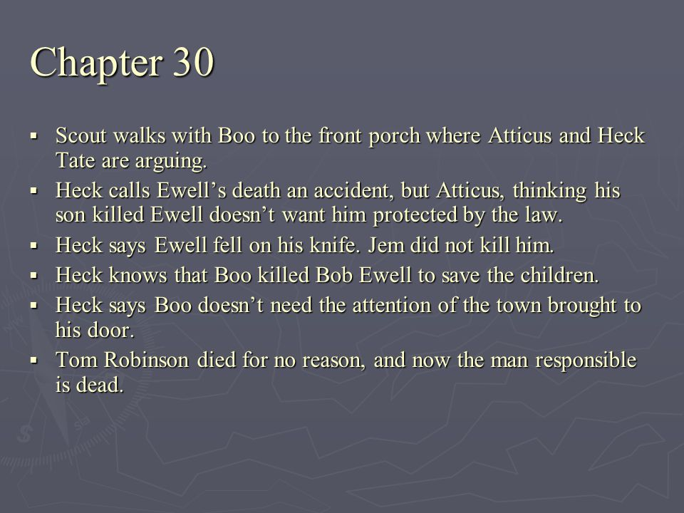 Chapter 30 Scout walks with Boo to the front porch where Atticus and Heck Tate are arguing.