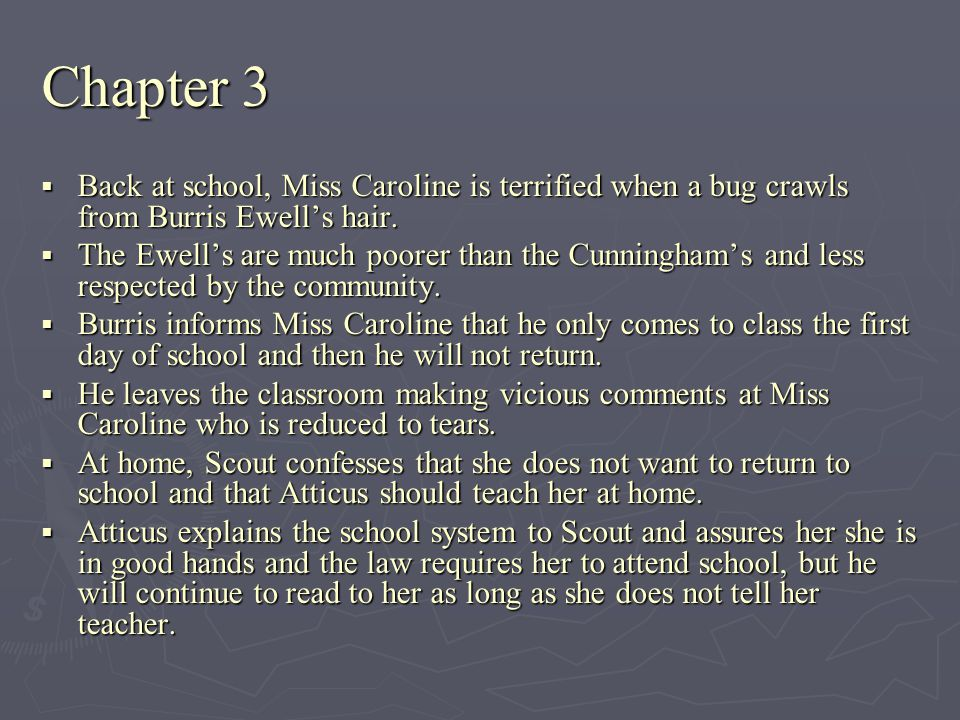 Chapter 3 Back at school, Miss Caroline is terrified when a bug crawls from Burris Ewell's hair.