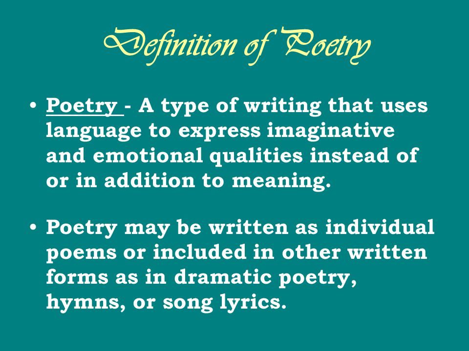 Definition of Poetry