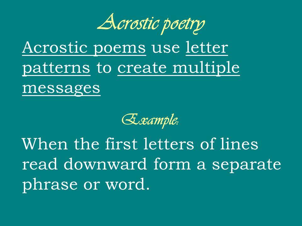 Acrostic poetry Example:
