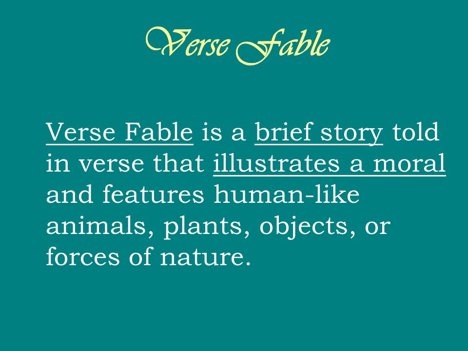 Verse Fable