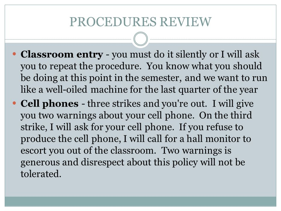PROCEDURES REVIEW