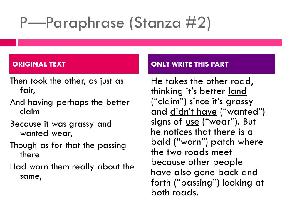 P—Paraphrase (Stanza #2)