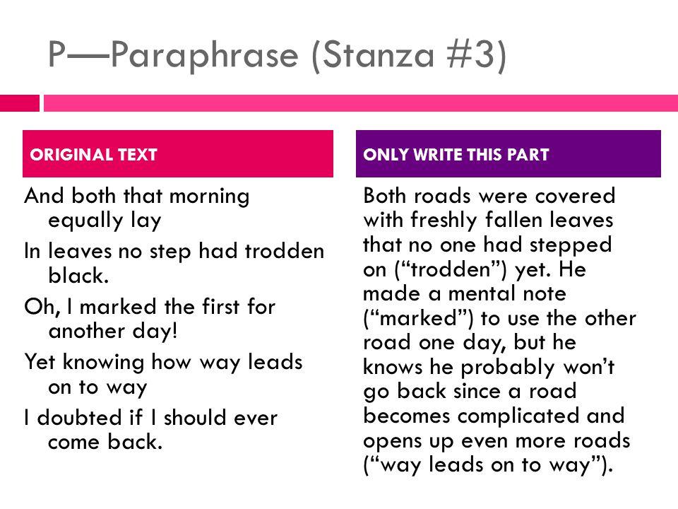 P—Paraphrase (Stanza #3)