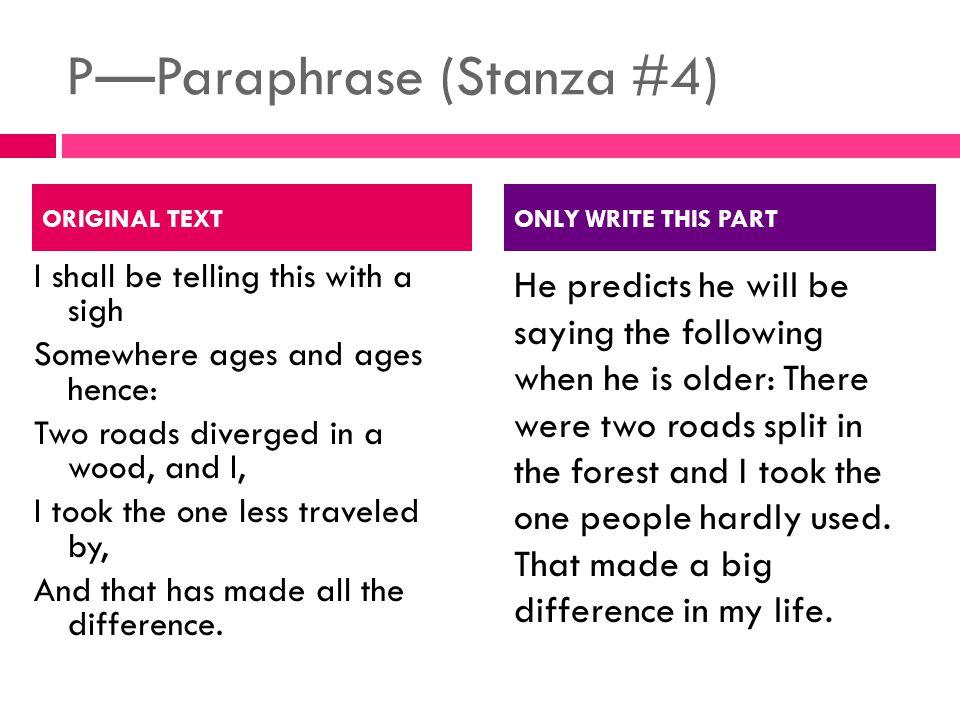 P—Paraphrase (Stanza #4)