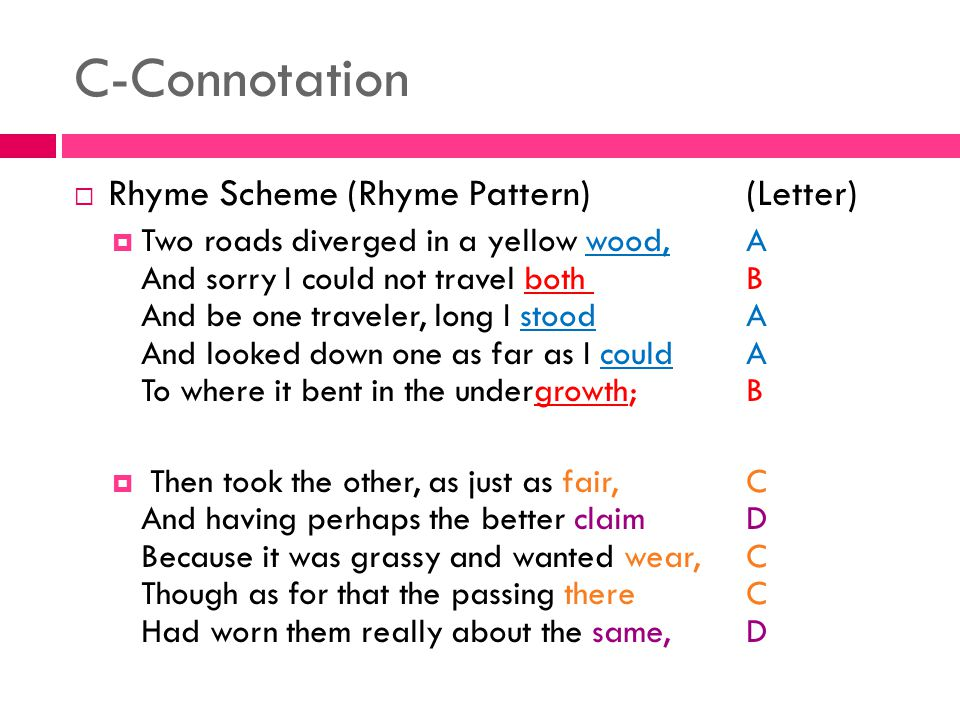 C-Connotation Rhyme Scheme (Rhyme Pattern) (Letter)
