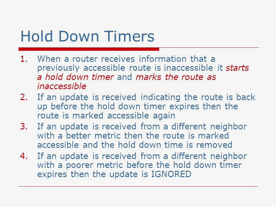 Hold Down Timers