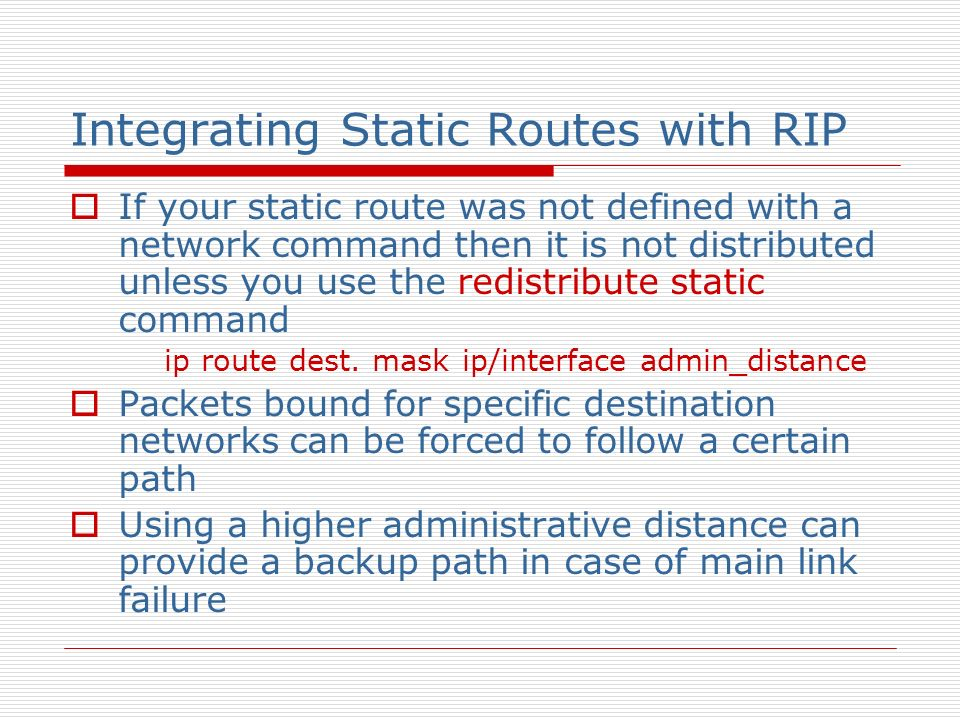 Integrating Static Routes with RIP