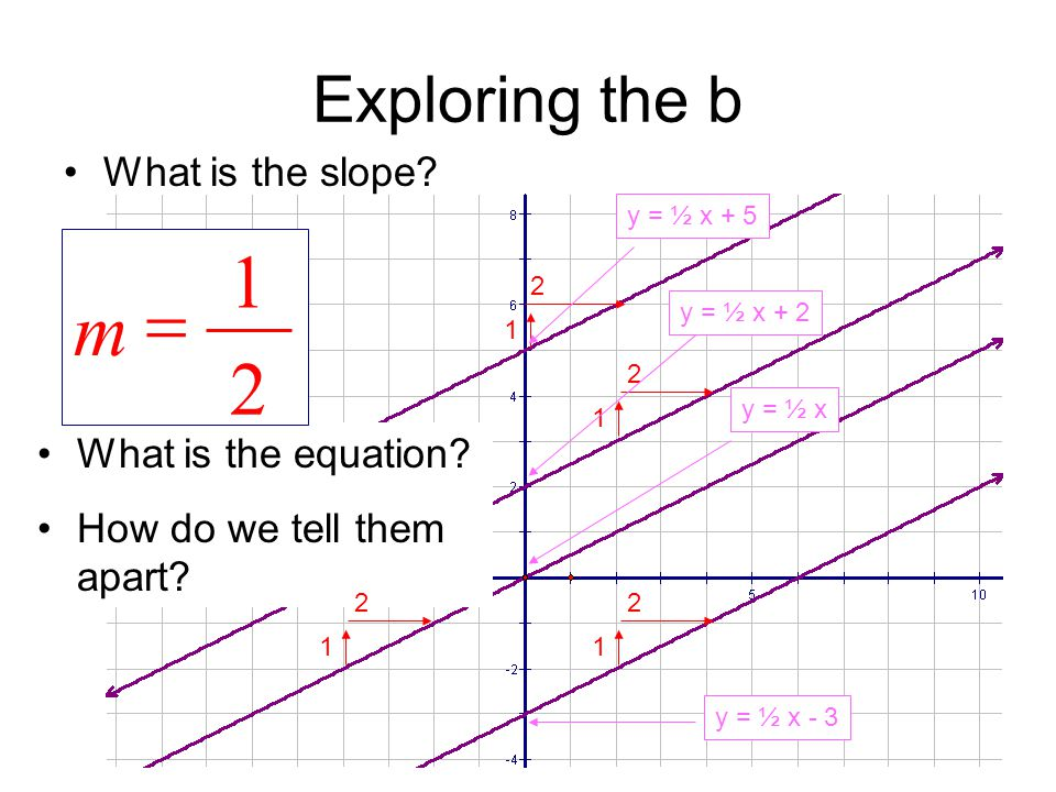 1 = m 2 Exploring the b What is the slope What is the equation