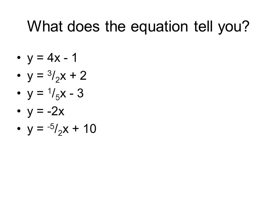 What does the equation tell you