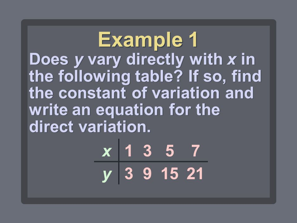 Example 1 Does y vary directly with x in the following table If so, find the constant of variation and write an equation for the direct variation.