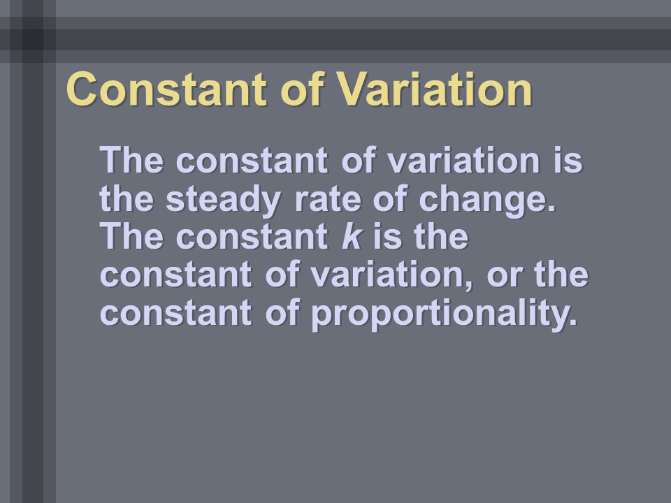 Constant of Variation
