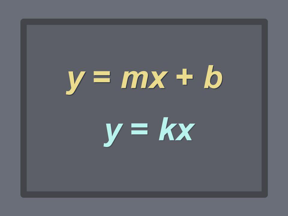 y = mx + b y = kx