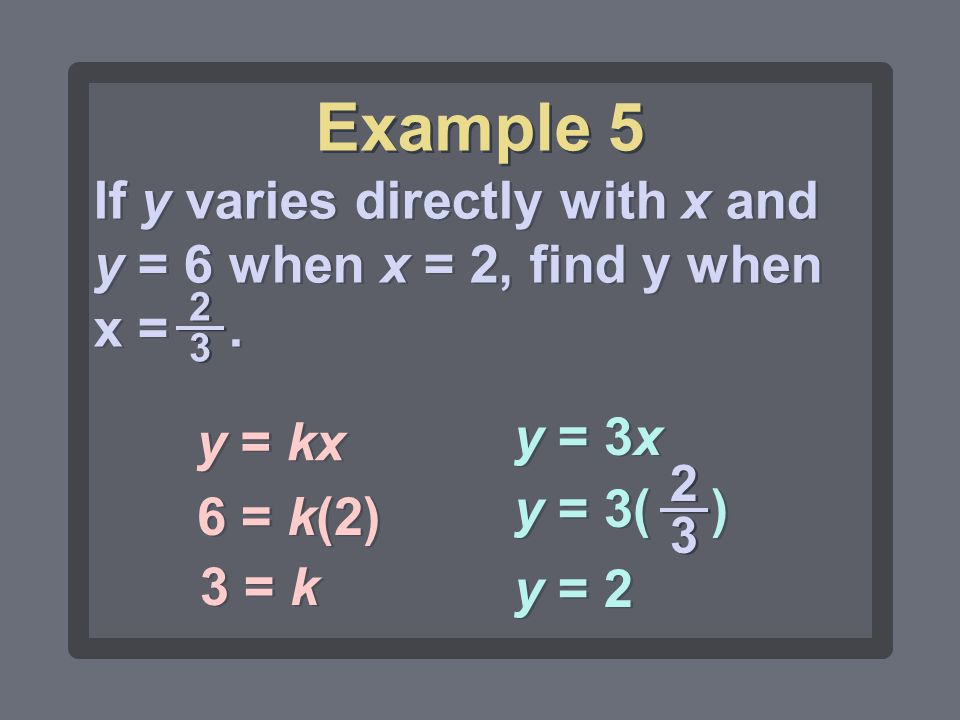 Example 5 If y varies directly with x and y = 6 when x = 2, find y when x = . 2 3. y = kx. y = 3x.