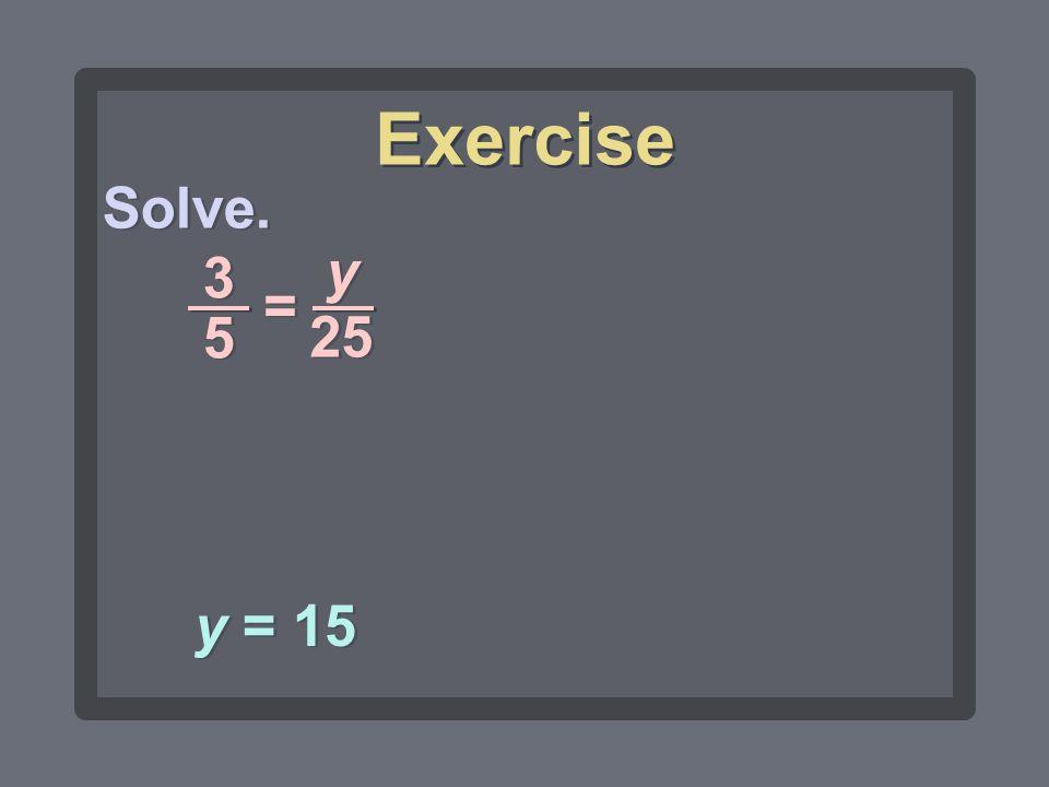 Exercise Solve. y 25 3 5 = y = 15