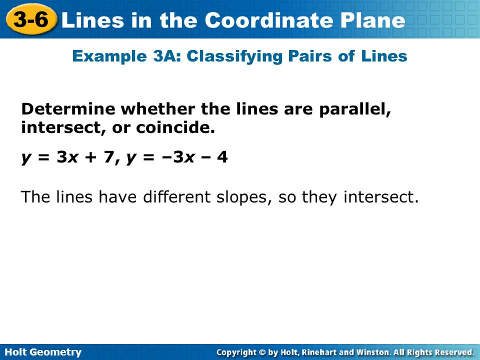 Example 3A: Classifying Pairs of Lines